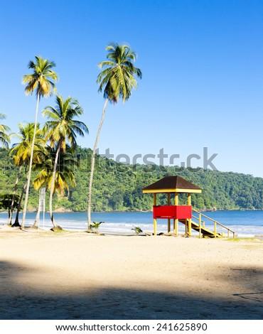 cabin on the beach, Maracas Bay, Trinidad - stock photo