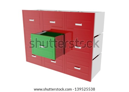 Cabinet drawer archive - stock photo