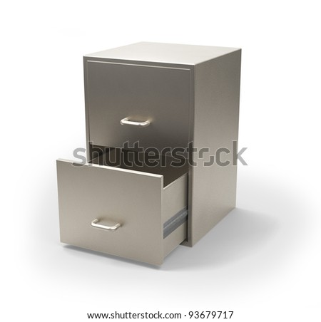 Cabinet for documents isolated on white 3d model - stock photo