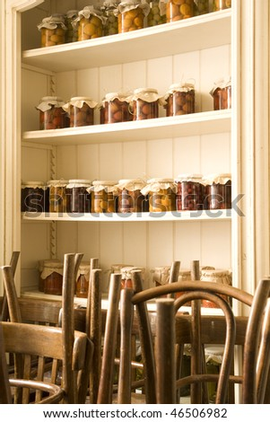 cabinet in restaurant with salting in jar