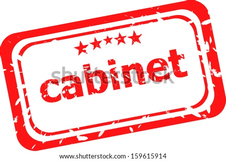 cabinet on red rubber stamp over a white background, raster