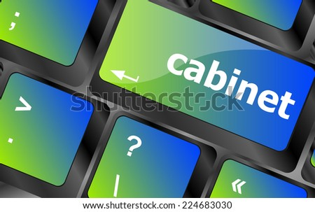 cabinet word on computer pc keyboard key - stock photo