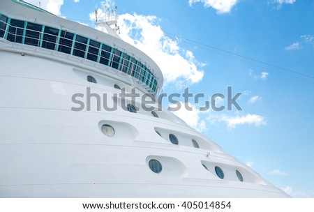 Cabins on Bow of Luxury Cruise Ship - stock photo