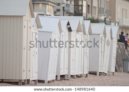 Cabins on the beach in Normandy
