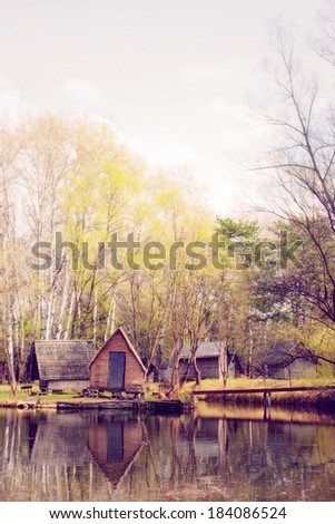 Cabins on the shore  - stock photo