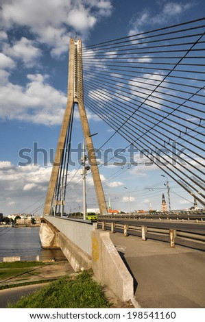 cable bridge in Riga, Latvia