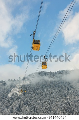 Cable cabin lifts (Mayrhofner bergbahnen) in a ski resort Mayrhofen to Penken peak - Zillertal region, Austria