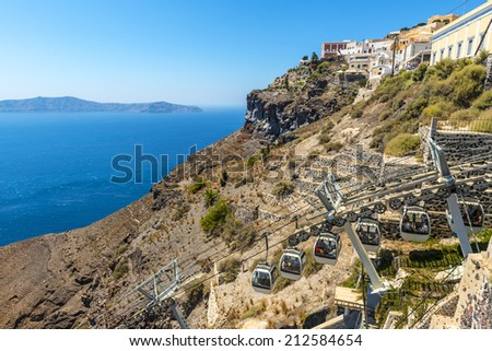 Cable Car Connecting The Fira Harbour With The Town in Santorini, Greece - stock photo