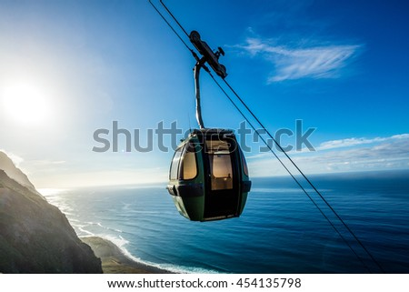 Cable car going down along the cliffs, Achadas da Cruz, Madeira, Portugal