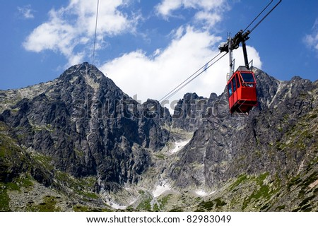 Cable car going to the summit of the mountain with white clouds and blue sky