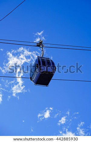 cable car in front of a perfect sky