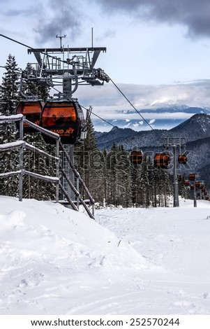 Cable car in Jasna winter resort, Slovakia