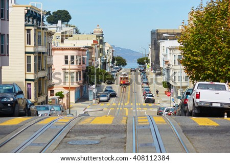 Cable car in San Francisco, California, USA - stock photo