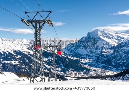 """cable car in the Alps of Switzerland. The resort """"Jungfrau"""" - stock photo"""