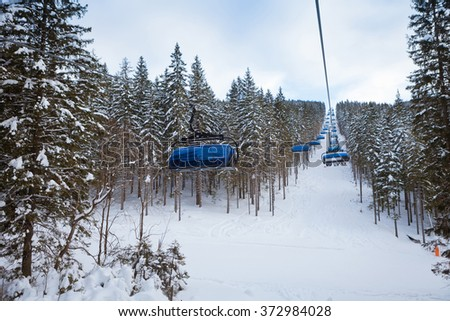 Cable car in winter resort, Slovakia