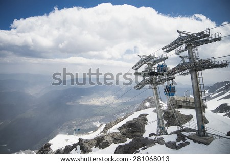 cable car on mountain