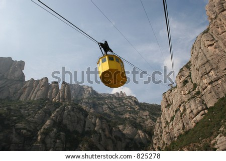 Cable car ride to Montserrat in Spain. - stock photo
