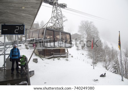 Cable car to Gimmelwald in Lauterbrunnen valley on April 19, 2017 Junfrau region Swtzerland