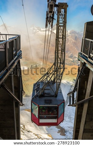 Cable car to Matterhorn mountain in Zermatt , Switzerland in a summer day - stock photo