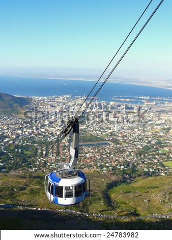 Cable car to Table mountain in Cape Town - stock photo