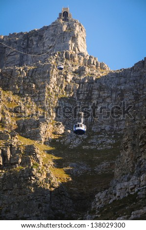Cable car to table mountain in Cape Town, South Africa - stock photo
