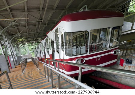 Cable car which travels up the mountain to Koya san, Japan