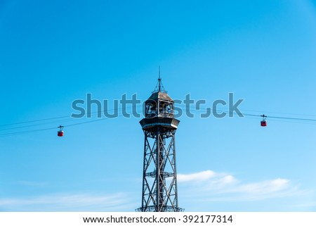 cable cars crossing at a pylon in barcelona harbour