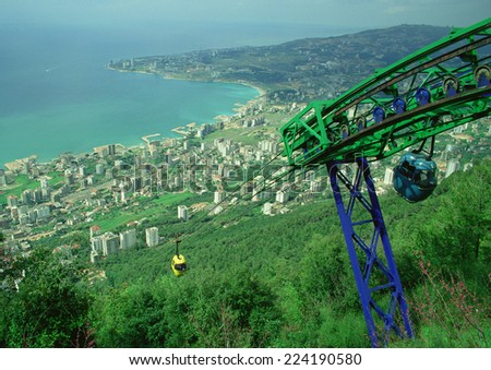 Cable cars overlooking Jounieh, Lebanon - stock photo