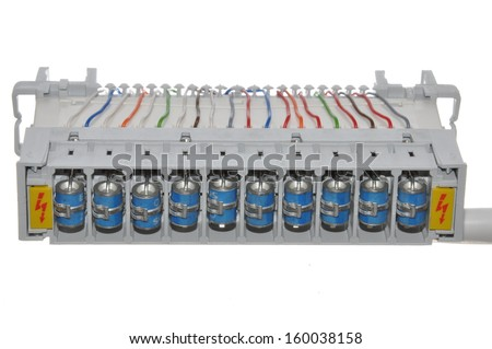 Cable connection with the protection fuse current   - stock photo