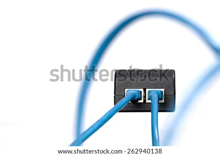 Cable connector for internet telephone communications - stock photo