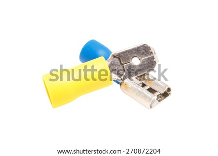 Cable connectors isolated on white - stock photo