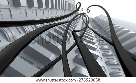 Cable. 3D. Abstract structure - stock photo