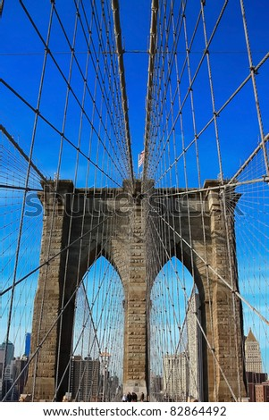 cable detail of Brooklyn bridge - stock photo