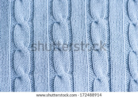cable knit texture blue abstract - stock photo