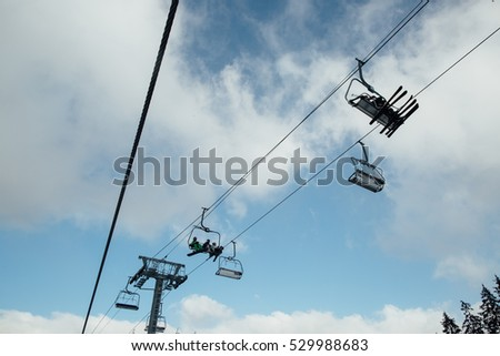 Cable lifts in a ski resort.