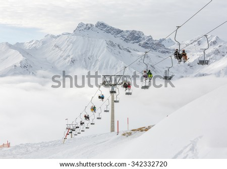 Cable lifts in a ski resort Mayrhofen tin the sunny weather - Zillertal region, Austria - stock photo