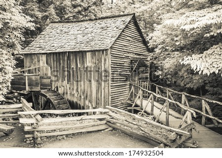 Cable Mill is one of the most popular stops on the Cades Cove tour at Great Smoky Mountains National Park. Processed with a monochrome infrared black and white filter.
