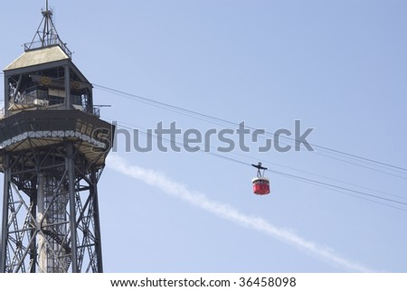 Cable railway from Barcelona on a blue sky