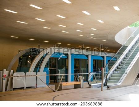 Cable railway uderground station. Innsbruck Nordkette Tyrol - stock photo