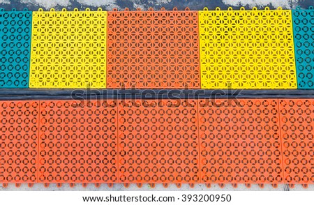 Cable shield on the cement floor - stock photo