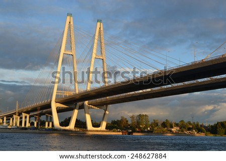 Cable stayed bridge at evening, St.Petersburg, Russia.