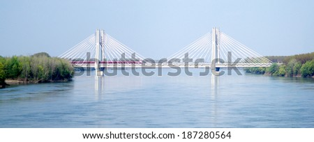 Cable stayed railway bridge across river Po in Northern Italy - stock photo