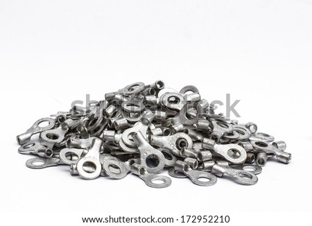 Cable terminals isolated on a white background - stock photo