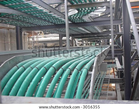 Cable Trays With Green Cable Electricity Lines