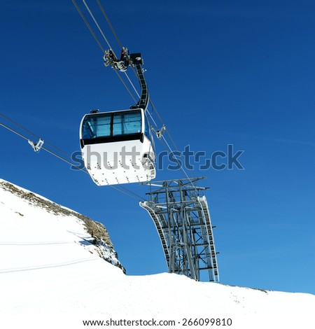 Cablecar to Val d'Isere, Alps in winter, Tarentaise, France - stock photo