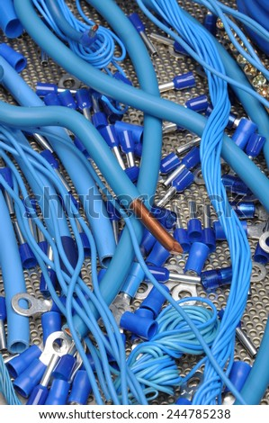 Cables and electrical component kit for use in electrical installations - stock photo