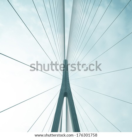Cables and supports of bridge in china against blue sky
