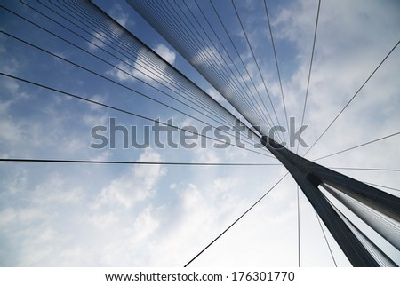 Cables and supports of bridge in china against blue sky - stock photo