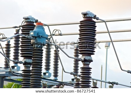 cables electrical workers and center them electrical worker - stock photo