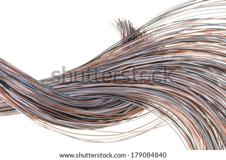 Cables of telecommunication network isolated on white background  - stock photo